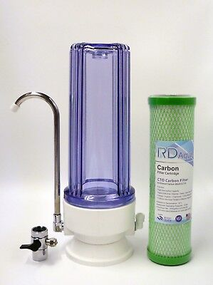 Clear Countertop Drinking water filter system; Green Coconut filter