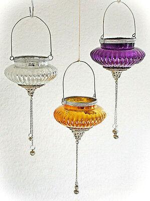 en Zwiebel Glas Hängen Lampion Lila Orange Silber Laterne #387 (Lila Laternen)