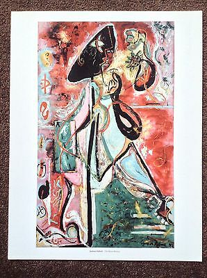 Jackson Pollock PRINT Vintage 2006 Abstract Expressionist Art Moon Woman Modern