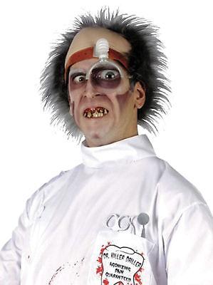 Mad Dentist Halloween (PSYCHO SURGEON WIG Dr Killer Driller Dentist Mad Doctor Headpiece Halloween)