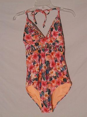 Nwt Op Designer One Piece Strappy Swimsuit Size Juniors Large Floral