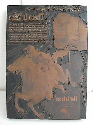 Belden Wire Advertising Copper Print Press Antique Wood Printing Block Horse Vtg
