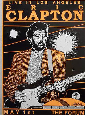 1990 Eric Clapton Original Concert Poster Los Angeles Forum
