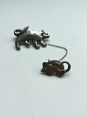 Wind Up Key Costume (Vintage Seagull Pewter 1990 Jewelry  Pendant Cat With A Toy Mouse, Windup)