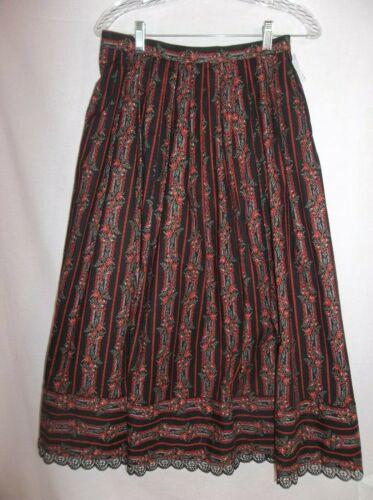 """Black Authentic DIRNDL SKIRT German Austrian Trachten Cotton 30"""" waist tag: """"36"""""""