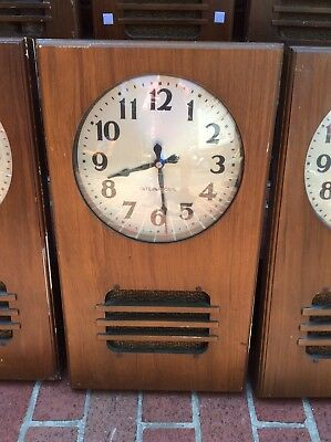 """Antique 1939 International ( IBM ) Wood Wall Clock With Speaker- 10"""" Face -Nice"""