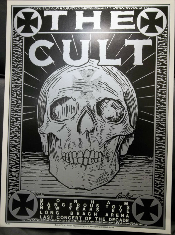 The Cult Original 19x14 Concert Poster Long Beach Arena New Years Eve 1989 Rare
