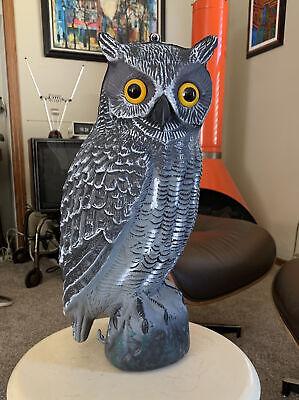 Blow Mold Owl Life Size Gray Yellow Eyes Garden Decor Pest Deterrent No Damage
