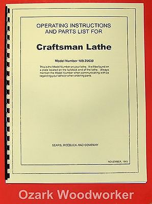 Craftsman-dunlap 6 Metal Lathe 109.20630 Instructions Parts Manual 0192