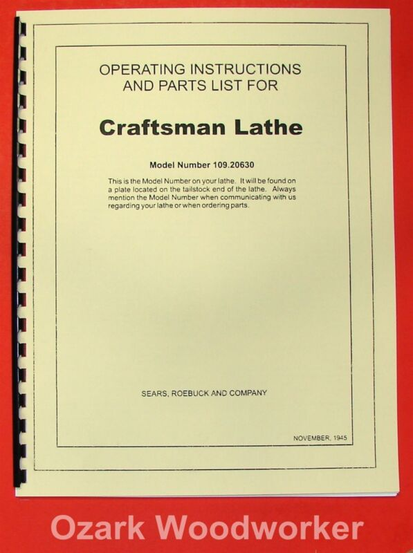 "CRAFTSMAN-Dunlap 6"" Metal Lathe 109.20630 Instructions & Parts Manual 0192"