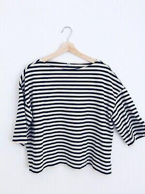 Uniqlo Women's Black & White Stripe Breton Top, 3/4 Sleeve, Medium / Size 10-14