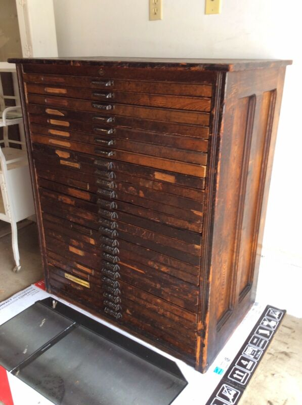 "Antique / Vtg Hamilton 25 Drawer Wood Printers Cabinet 37""Wx22""Dx43""H-ORIGINAL"