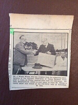 H1n Ephemera 1957 Picture Mr J Wesley Wilton John Molesworth St Aubyn