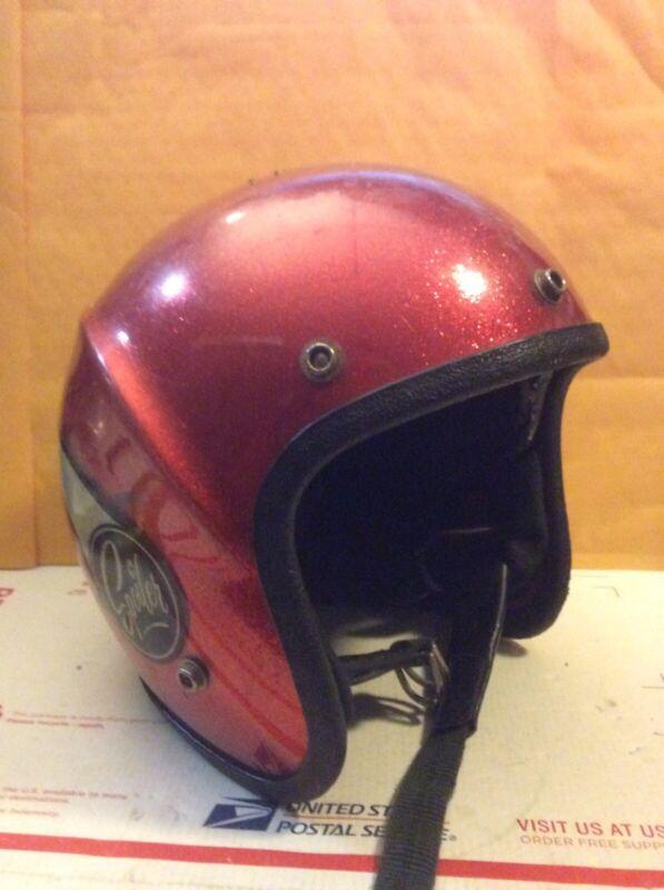 Vintage  Lear Siegler Spoiler S-80 Red Glitter Motorcycle Helmet size (large?)