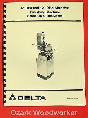 Delta 6 Belt 12 Disc Sander Operator Parts Manual 0208