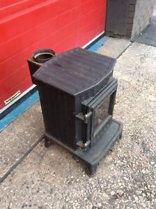 Cast Iron Gas Powered Stove, Log Burner Style, Chimney, Vintage, Retro