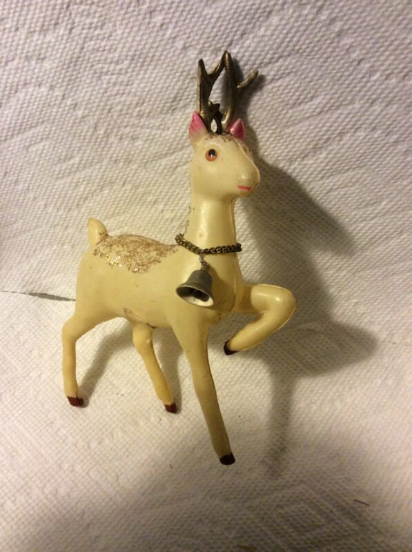 OLD JAPAN CELLULOID CHRISTMAS SANTAS REINDEER WITH BELL