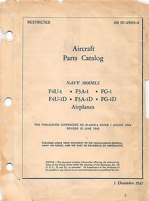 F4U-1 Corsair Aircraft Parts Catalog World War II Book Flight Manual -CD version Aircraft Parts Catalog Manual