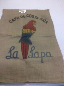Burlap Coffee Bean Sack Bag  Colorful Tropical Parrot. CRAFT Gunny Sack