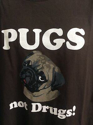 Pugs Not Drugs Crazy Dog Tshirts Com Mens Size 2Xl 100  Cotton Brown Short Slee