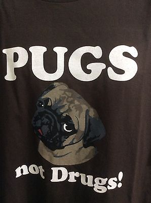 Pugs Not Drugs Crazy Dog Tshirts Com Mens Size 3Xl 100  Cotton Brown Short Slee