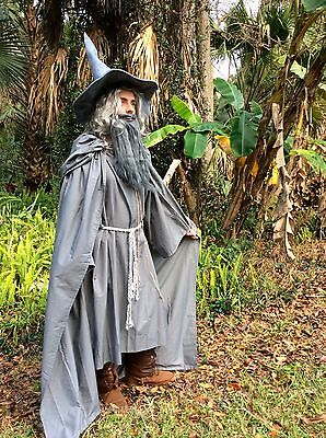 Gandalf Cape Robe Belt Hat Wig Beard Medieval Renaissance Halloween costume