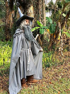 Gandalf Halloween Costume (Gandalf Cape Robe Belt Hat Wig Beard Medieval Renaissance Halloween)