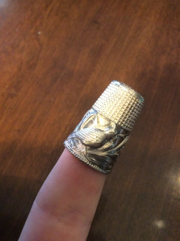 Vintage Embossed Quail Bird & Corn 3-D Tall Sterling Silver 925 Sewing Thimble