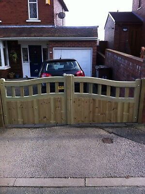 Bellvue Curve Timber Entrance Gates Bespoke Wooden Driveway Gates. Treated