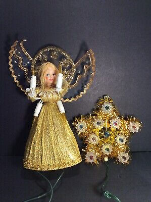 Small Vintage Christmas Tree Toppers Gold Angel & Tinsel Star W/Lights •WORKS•