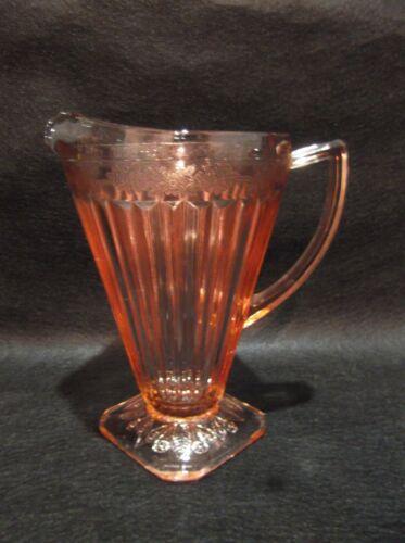 Vintage Pink Glass Adam Pitcher w/square base