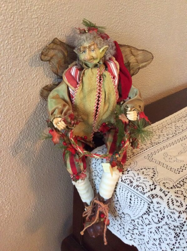 RARE Vintage Mark Roberts Fairy Elf Posable Figure Rustic Holiday Decor