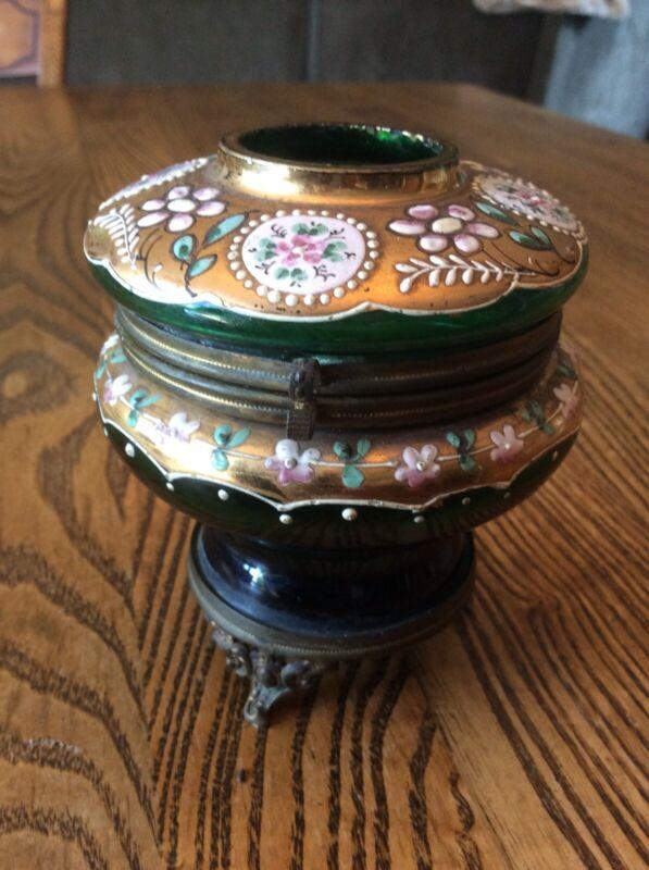 Antique Victorian Glass & Enamel Footed Hinged Lid Hair Receiver Dresser Jar Box