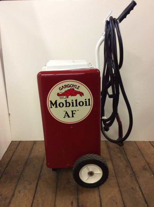 "Garage Battery Charger Restored 1960's ""Mobil oil"""