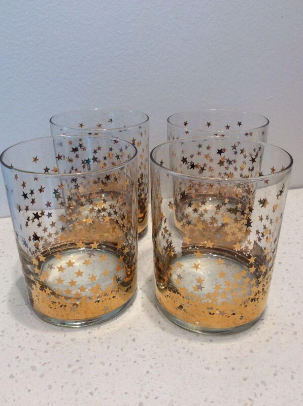 Culver 22K Gold Star Vintage Lowball Cocktail Glasses Set Of 4