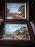 Pair Framed Oil Paintings Signed Enderby English Rural Path Lake Both Similar -  - ebay.co.uk