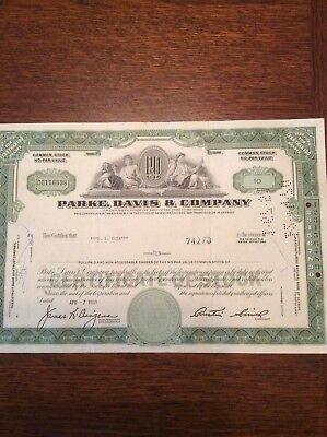Parke,Davis & Company Dated 1969 10 Shares Invalid  SHARE CERTIFICATE