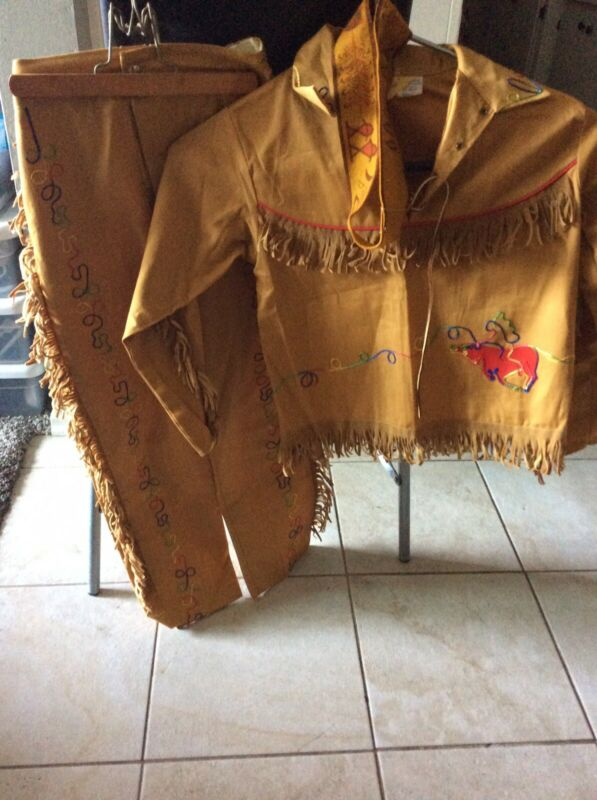 Vintage 1950s Child Native American Indian Costume Fringe Outfit Shirt Pants Set