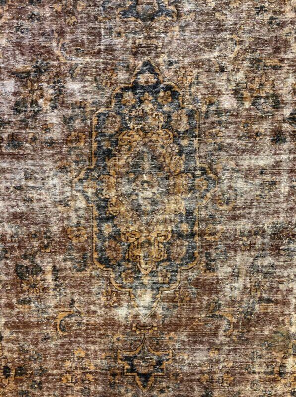 Outstanding Overdye - 1960s Antique Turkish Rug -  Tribal Carpet - 9.8 X 12.4 Ft