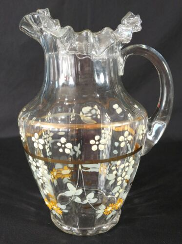 Antique Victorian Clear Optic Ribbed Hand Painted Pitcher Applied Handle