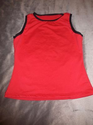 Girls L  Red w Black Sleeveless Dance Top Front Lined Stretch Knit