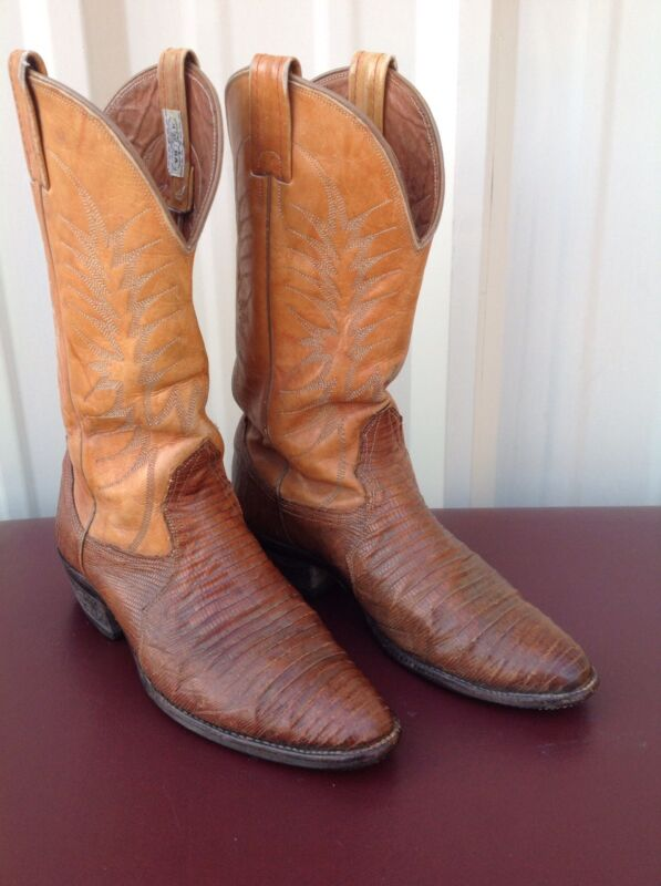 Vintage, Nocona, Lizard, Skin, And, Leather, Mens, Cowboy, Western, Biker, Boots, 8.5, D
