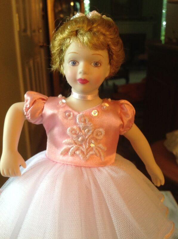 "7.5"" Porcelain Blonde Blue-Eyed Ballerina Doll With Stand Pink Tutu"