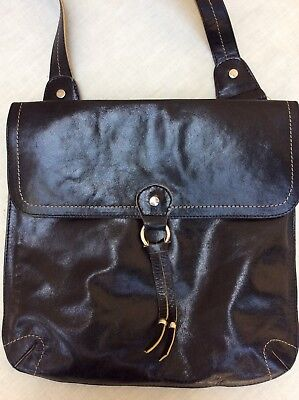 Lazaro BlK Glazed Aniline Leather Messenger Crossbody Passport Travel Bag Purse