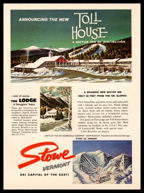 1965 Toll House Motor Inn Stowe Vermont Snow Ski Resort Color Vintage Print Ad