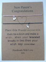 Parents Congratulations Wish Bracelet Pink&black Small Feet Charms -  - ebay.co.uk
