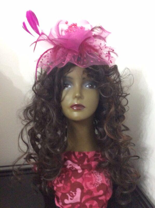 Hot Pink fascinator Kentucky derby formal dress big feather wedding church Hat