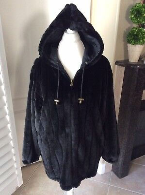 Black Faux Fur Coat Womens Medium Hooded Outbrook Jacket Brass Toggle Silk Lined ()