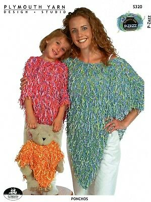 Plymouth Knitting Pattern S320 Ponchos for Women, Kids & Teddy Bear - Easy Knit!