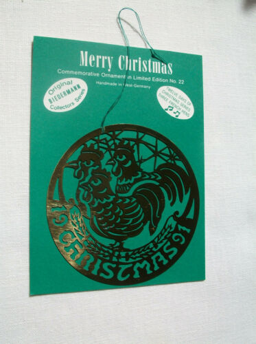 NEW 1991 Biedermann Brass Christmas Ornament